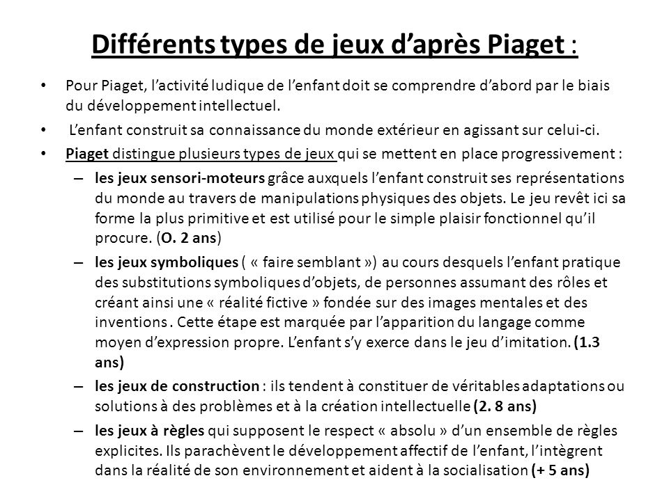 differents types de jeux